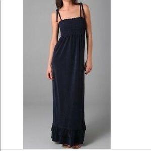 Navy smocked maxi dress